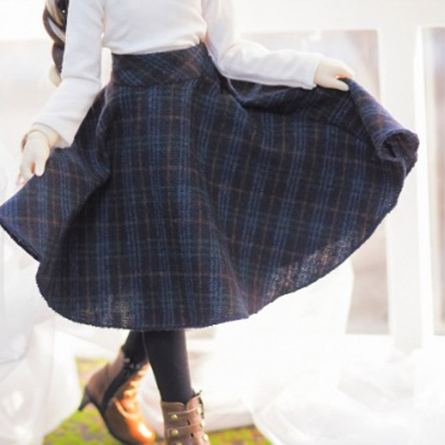[Pre-Order] [MSD]Check long skirt(Navy)
