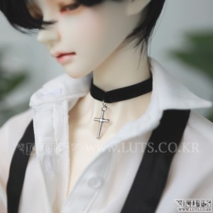 Metal Black Choker (Cross) (L size)